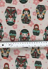 Cuarto gordo Muñecas Rusas sobre lino Look 100% Algodón, Colchas de retazos de tela