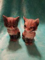 Vintage Gray Striped Kitten Salt And Pepper Shakers