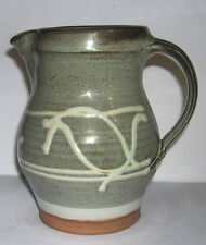 Studio Pottery - Attractive Coloured Jug with Raised Pattern Design - Stamped BD