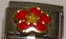 SPRING RED FLOWER ENAMEL ITALIAN CHARM 9MM CLASSIC DIY RARE COLLECTABLE