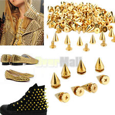 100 PCS Trendy 10MM Spots Cone Screw Metal Studs Rivet Bullet Spikes Golden USA
