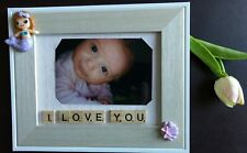 "Handmade Photo Frame 4x6"", Scrabble Tiles, I Love You, Marmaid, Sea Shell, girly"