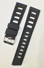 24mm Lug BLACK PU RUBBER ISO DIVING WATCH STRAP, Thick & Robust, NEW.