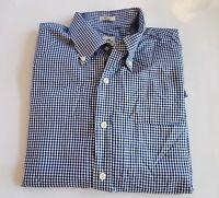 PETER MILLAR Nanoluxe Blue White Gingham Striped L/S Shirt Size L Large 60-24