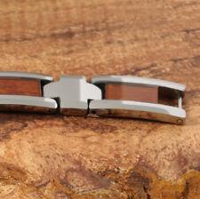 """Tungsten Carbide Inlaid Koa Wood Mans Bracelet 9"""""""