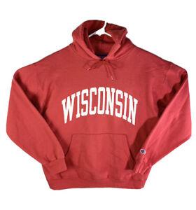 Vintage 90s Champion Wisconsin Badgers Hoodie Sweatshirt Red Medium