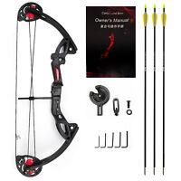 MAK Compound Bow Set Draw With 3pcs Fiberglass Arrow Teens Hunting Target Game