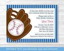 Baseball Baby Shower Invitation Printable Editable PDF