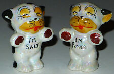 VINTAGE JAPAN LUSTERWARE BOXER DOGS SALT & PEPPER SHAKERS HANDPAINTED