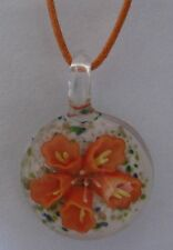 Art Glass Pendant Necklace FLOWER ROUND Handmade Lampwork  Made in USA