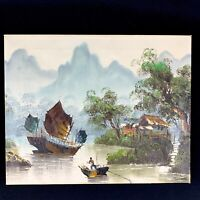 """Vintage Asian Oil Painting Signed KENNETH Chinese Boat River Original Art 20"""""""