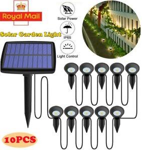 10pcs Solar Powered Outdoor LED Spot Spike Lights Garden Landscape Lawn Lamp UK