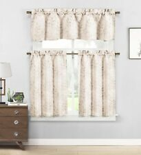 Taupe & Beige 3 Pc Cafe Tiers Curtain Set: Botanical Design, 1 Valance, 2 Tiers