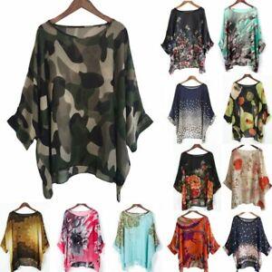 Hippie Floral Lagenlook Tunic Top Boho Chiffon Kaftan Kimono Shirt Size 16 18 20