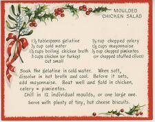 VINTAGE CHRISTMAS HOLLY BERRIES MOLD CHICKEN SALAD GELATIN RECIPE CARD ART PRINT
