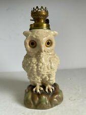 Rare Antique Figural Porcelain Miniature Owl Oil Lamp Kerosene Glass Eyes 19thC