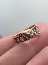 STUNNING VICTORIAN 14k rose gold flower  diamond ring handcrafted!!!