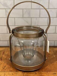 "NEW Yankee Candle BRONZE LANTERN Tea Light Holder 7"" NIB Home Decor Glass"