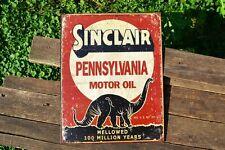 Sinclair Pennsylvania Motor Oil Tin Metal Sign - Dino - Dinosaur - Gas - Retro