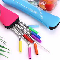 Reusable Stainless Steel Straight Bent Drinking Straws with Silicone Tips Straws