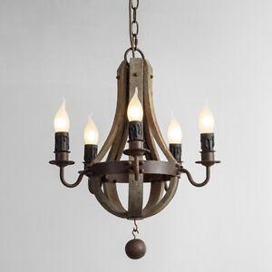 Vintage Weathered Wood Wine Barrel 5 Lamps Rust Metal Ceiling Pendant Chandelier