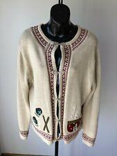 Field Gear Beige Winter Themed Cotton Blend Sweater - XL