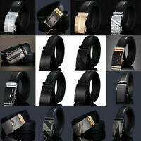Luxury Mens Genuine Leather Belt Metal Automatic Buckle Waistband Waist Strap