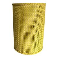 """Yellow Wicker Wastebasket Trash Can Round 12""""x 8.5"""" Vtg Mid Century 60s"""