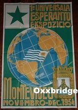 ESPERANTO FESTIVAL POSTER Original Vintage ART DECO EXHIBITION World Map 1954