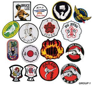 Martial Arts Logo Patches, Jiu Jitsu, Karate, Hapkido, Isshinryu Sew-on Group 1