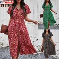 Women's Boho Floral Long Dress Ladies V Neck Short Sleeve Split Maxi Dresses