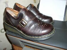 Dr Martens Brown Leather Buckle Monk Wedge Shoes Womens US 10L UK 8 EU 42 3862