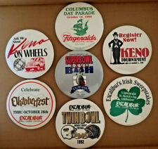 New listing 7 Casino Pin Back Buttons Badge Excalibur Fitzgeralds Keno Football Octoberfest