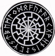 BLACK SUN SONNENRAD FUTHARK RUNES IRON ON PATCH thor asatru viking odin norse