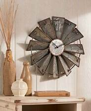 Rustic Metal Embossed Windmill Farm House Wall Clock Country Clocks Oversized