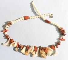 Bijou collier années 70 hippies perle et coquillage naturel pampilles 4906