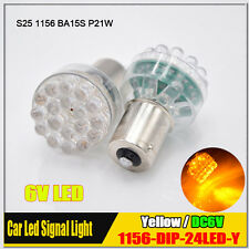 2x Yellow/Amber 1156 BA15S LED Car Moto Lights Auto Bulb Turn Signal Lamps 6V DC