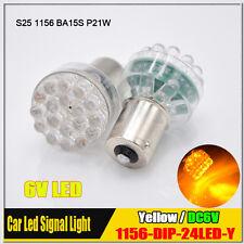 2x Yellow/Amber 1156 BA15S LED Car Moto Lights Auto Bulb Turn Signal Lamps 6V DC