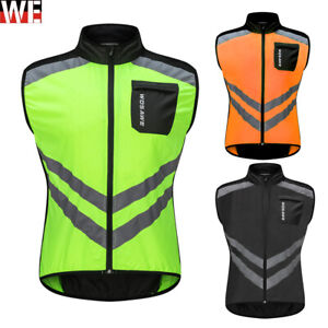 Mens Cycling Jacket High Vis Running Vest Reflective Sleeveless Tops Windproof
