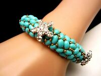 Signed KJL Goldtone Turquoise Bead Clear Rhinestone Starfish Hinged Bracelet A28