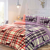 New Stag Check Duvet Quilt Cover Set With Pillow Case Bedding Single,Double,King