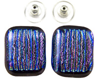 "Dichroic GLASS Earrings PINK Striped Texture Blue Green Stripes Post 3/4"" 20mm"