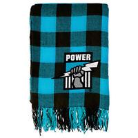 Port Adelaide Tartan Throw Rug Blanket Embroidered Logo Design Fringe   AFL