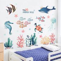 Underwater World Cartoon Fish Wall Stickers Waterproof Wallpaper Kids Home Decor