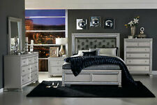 New Platinum Silver Bedroom Furniture - 5pcs Queen Upholstered Panel Bed Set A5P