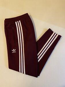Adidas Originals Beckenbauer Track Pants Maroon White Size M DH5825