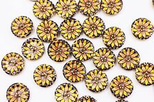 Floral Wood Sewing Buttons Small Yellow Flower Pattern Two Holes Craft 15mm 3pcs