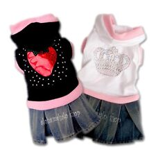 Dog Clothes Pet Dress Cat Shirt Jacket Fashion DENIM JEANS SKIRT HOOD Sz.00-5