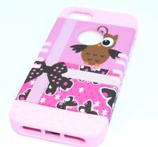 iPhone SE 5S HARD & SOFT RUBBER HYBRID HIGH IMPACT CASE BROWN OWL BIRD PINK BOW