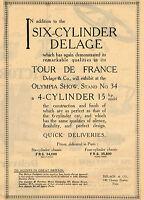 1920 Original Vintage Delage Six Cylinder Car Auto Automobile Art Print Ad